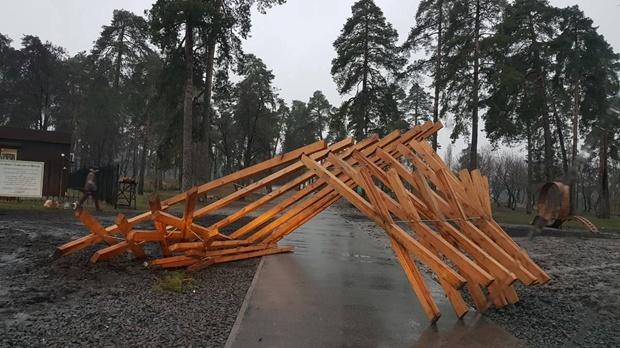 В Дарницком районе вандалы спилили деревья в парке и сломали деревянную арку